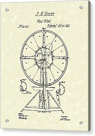 Wind Wheel 1865 Patent Art Acrylic Print by Prior Art Design