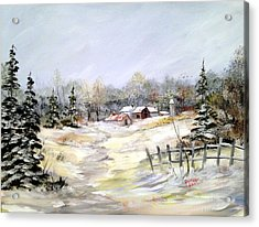 Winter At The Farm Acrylic Print