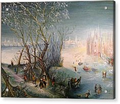 Acrylic Print featuring the painting Winter Scene by Egidio Graziani