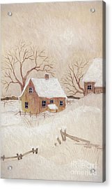 Acrylic Print featuring the photograph Winter Scene With Farmhouse/ Digitally Altered by Sandra Cunningham