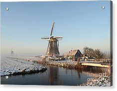 Winter Windmill Landscape In Holland Acrylic Print