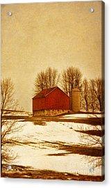 Wisconsin Barn In Winter Acrylic Print by Jill Battaglia