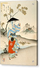 Woman And Child Acrylic Print by Ogata Gekko