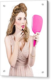 Woman Applying Lip Makeup With Cosmetics Mirror Acrylic Print