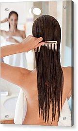 Woman Brushing Her Hair Acrylic Print
