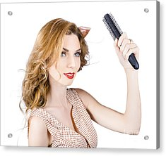 Woman Combing Cherry Blonde Hairstyle. Hair Care Acrylic Print