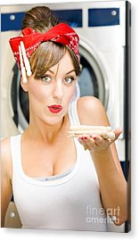 Woman Doing Washing Acrylic Print by Jorgo Photography - Wall Art Gallery