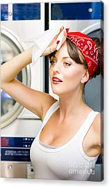 Woman Exhausted From Cleaning Acrylic Print by Jorgo Photography - Wall Art Gallery