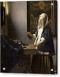 Woman Holding A Balance Acrylic Print