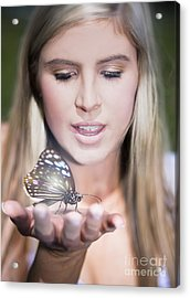 Woman Holding Butterfly Acrylic Print by Jorgo Photography - Wall Art Gallery