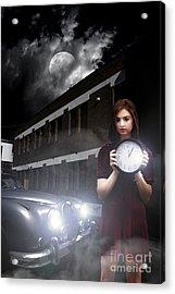 Woman Holding Clock Acrylic Print by Jorgo Photography - Wall Art Gallery