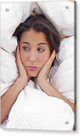 Woman In Bed With Hands On Chin Acrylic Print