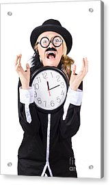 Woman In Panic With Behind Schedule Clock Acrylic Print by Jorgo Photography - Wall Art Gallery