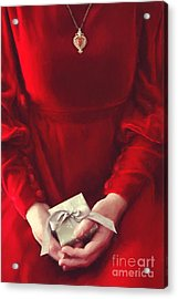 Woman In Red Dress Holding Gift/ Digital Painting Acrylic Print by Sandra Cunningham