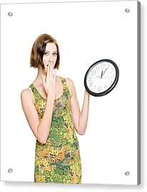 Woman Late For The Time Schedule Deadline Acrylic Print by Jorgo Photography - Wall Art Gallery