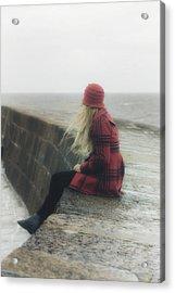 Woman On Pier Acrylic Print