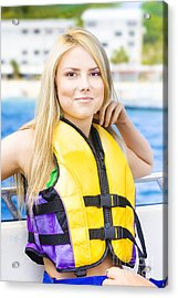 Woman On Sightseeing Boat Tour Acrylic Print