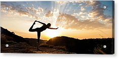 Woman Performing Standing Bow Pulling Acrylic Print by Panoramic Images