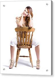 Woman Posing On Chair Acrylic Print