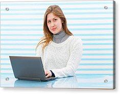 Woman Using Laptop Acrylic Print by Wladimir Bulgar/science Photo Library