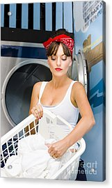 Woman Washing Clothes Acrylic Print by Jorgo Photography - Wall Art Gallery