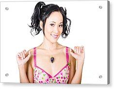 Woman Wearing Diamond Encrusted Jewellery Pendant Acrylic Print