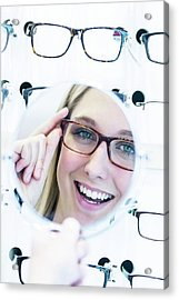 Woman Wearing Glasses Acrylic Print