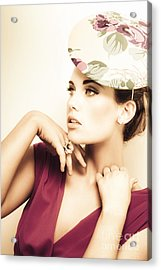Woman Wearing V-neck Blouse And Floral Hat Acrylic Print