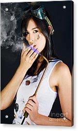 Woman Welding Smoking Cigarette Acrylic Print