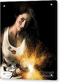 Woman With Angle Grinder Spraying Sparks Acrylic Print by Jorgo Photography - Wall Art Gallery