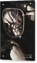 Woman With Broken Mirror And Shattered Reflection Acrylic Print by Jorgo Photography - Wall Art Gallery