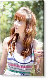 Woman With Glass Of Champagne Acrylic Print