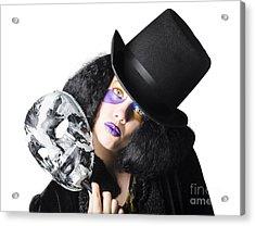 Woman With Mask Acrylic Print