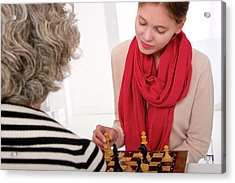 Women Playing Chess Acrylic Print by Lea Paterson