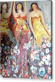 Women With Flowers Acrylic Print by Anand Swaroop Manchiraju