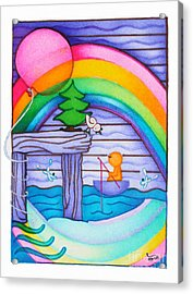 Woobies Character Baby Art Colorful Whimsical Rainbow Design By Romi Neilson Acrylic Print