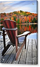 Wooden Dock On Autumn Lake Acrylic Print by Elena Elisseeva