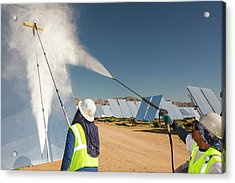 Workers Washing The Heliostats Acrylic Print