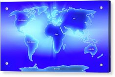 World Map Illustrating The 7 Continents Acrylic Print by Alfred Pasieka