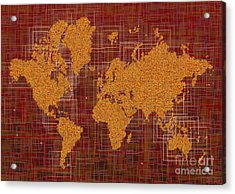 World Map Rettangoli In Orange Red And Brown Acrylic Print by Eleven Corners