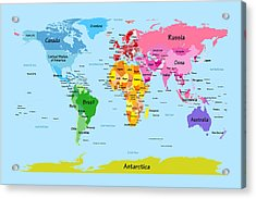 World Map With Big Text Acrylic Print by Michael Tompsett