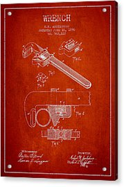 Wrench Patent Drawing From 1896 Acrylic Print by Aged Pixel