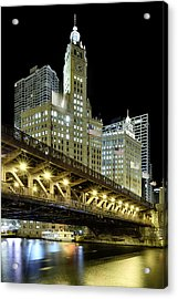 Wrigley Building At Night Acrylic Print by Sebastian Musial
