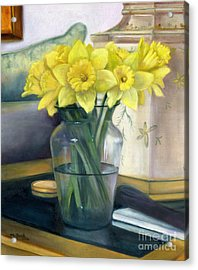 Yellow Daffodils Acrylic Print by Marlene Book