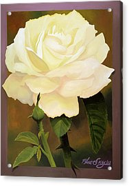 Yellow Rose Acrylic Print by Blue Sky