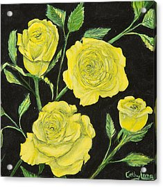 Acrylic Print featuring the painting Yellow Roses by Cathy Long