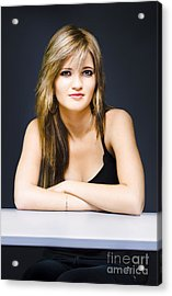 Young Attractive Woman At Desk With Questions Acrylic Print by Jorgo Photography - Wall Art Gallery