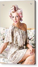 Young Beautiful Woman. Immaculate Blond Hairstyle Acrylic Print