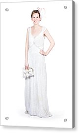 Young Bride In White Wedding Dress Acrylic Print by Jorgo Photography - Wall Art Gallery