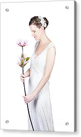 Young Bride With Flowers Acrylic Print